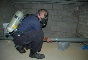 Man working in confined space